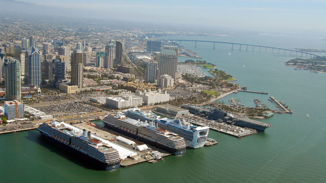 View of the San Diego harbor and skyline. Courtesy Port of San Diego