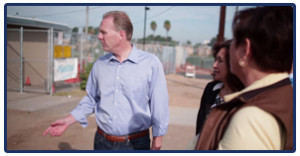 Kevin Faulconer campaigns in San Diego.