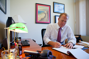 Mayor-elect Kevin Faulconer in his city council office. Courtesy Faulconer for Mayor,