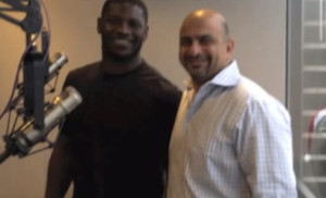 LaDainian Tomlinson (left) at radio announcement of TangoTab. Image from YouTube.com