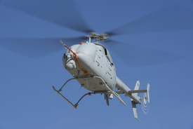 An MQ-8C Fire Scout unmanned helicopter. Northrop Grumman photo by Alan Radecki.
