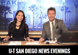 U-T TV evening news anchors Alejandra Cerball and Tristan Nichols. Promotional image from U-T San Diego.
