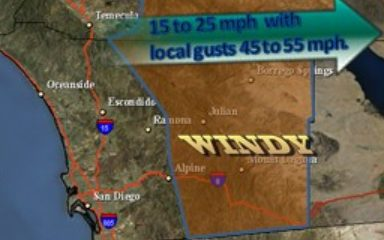 Gust winds forecast for San Diego area. National Weather Service image.