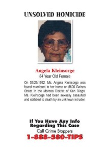 Angela Kleinsorge, 84, who was sexually assaulted, then murdered, in 1992.