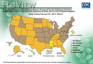 "The Centers for Disease Control's weekly flu map shows ""widespread"" cases in California."