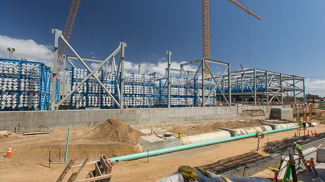 Construction work at Carlsbad desalination plant, the largest in the Western Hemisphere. Photo courtesy Carlsbad Desalination Project