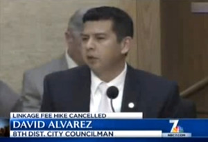 Councilman David Alvarez speaks on linkage fee. Image from NBC San Diego via YouTube.com