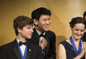 Eric S. Chen wins the first-place prize of $100,000 in the Intel Science Talent Search. Also pictured are finalists Alec Vadim Arshavsky of North Carolina and Kathy Camenzind of California. Photo courtesy Intel