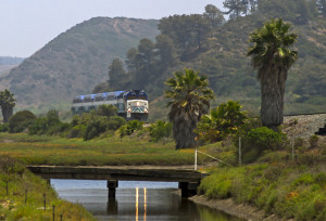 A Coaster train crosses the lagoon south of Del Mar. Photo courtesy North County Transit District