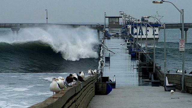 Waves crash over Ocean Beach Pier. Photo by Jon Sullivan via Wikipedia.