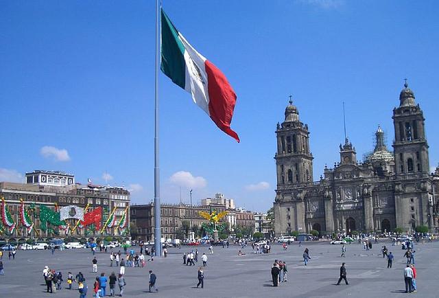 Plaza de la Constitucion in Mexico City. Photo by Schlaeger via Wikimedia Commons