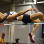 Rita Hanscom of San Diego clears 4-4 1/4 at the world masters indoor championships in Budapest.