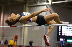 Rita Hanscom of San Diego clears 4-4 1/4 at the world masters indoor championships in Budapest. Photo by Robert Jerome