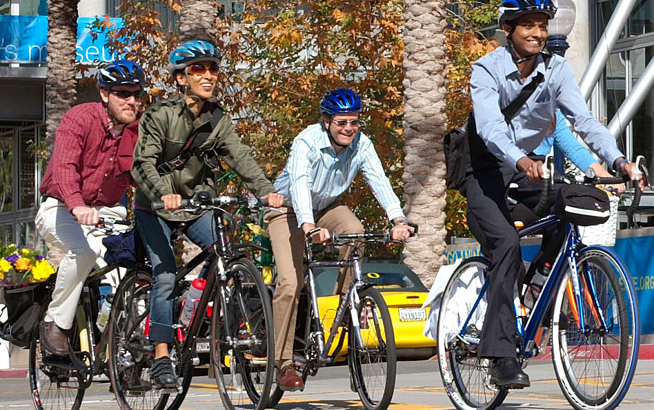 Cycling commuters. Photo courtesy of SANDAG