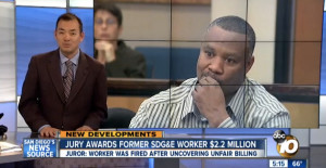 Fired SDG&E employee David Bryant at earlier hearing in case. Photo via 10News on YouTube