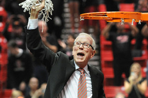 Steve Fisher, who cuts down nets with regularity, is looking forward to new basketball center. Photo courtesy SDSU News Center