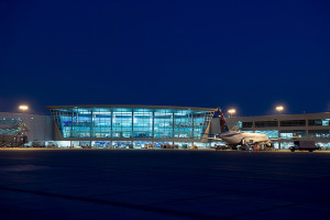 The San Diego International Airport's Terminal 2 at night. Photo courtesy airport authority