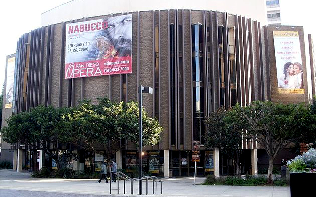 Banner for the San Diego Opera at the Civic Theater. Photo courtesy Wikimedia Commons