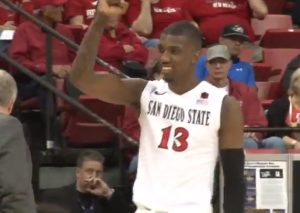 Winston Shepard celebrates during San Diego State's March 13 victory over Utah State. Photo credit: goaztecscom/YouTube.