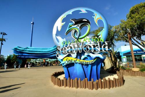 Entrance to Sea World with 100-foot-long iconic wave Photo by Mike Aguilera/SeaWorld