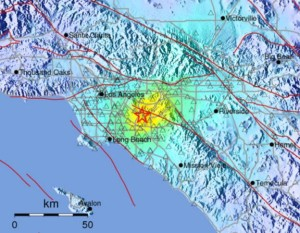 Computer-generated shake map from the United States Geological Survey shows where the quake's impact was greatest.
