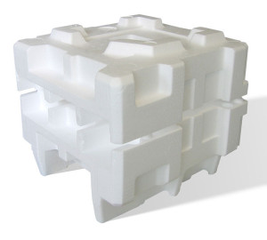 Polystyrene packaging material. Photo via Wikimedia Commons