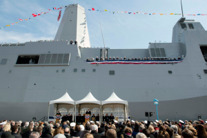 The amphibious transport dock USS Somerset is commissioned  in Philadelphia. Navy photo by Peter D. Lawlor.