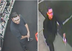 Surveillance images show a suspect who authorities say stole high-end cellphones from Radio Shack stores in San Diego. Photo by San Diego County Crime Stoppers.