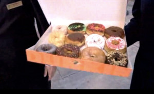 Donut varieties offered at opening of first San Diego Dunkin' Donuts. Image from YouTube
