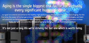 Statement on homepage of Human Longevity Inc., launched by J. Craig Venter.