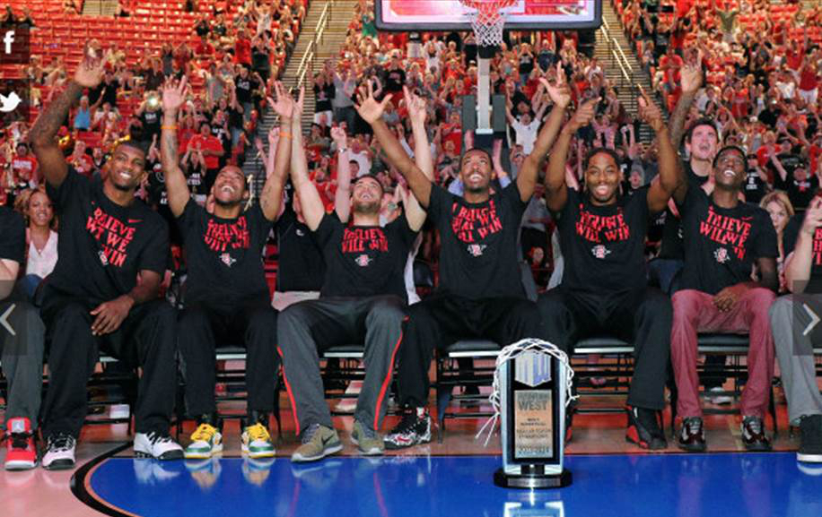The Aztecs celebrate during the NCAA selection show. Photo by Ernie Anderson via SDSU News Center