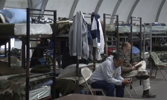 San Diego tent shelter for homeless veterans. Photo  by KPBS via YouTube