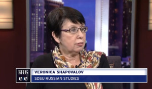 Russian studies professor Veronica Shapovalov on KPBS. Image from KPBS via Youtube