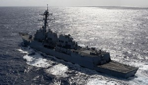 Arleigh Burke-class guided-missile destroyer USS Kidd in the Pacific Ocean. Navy photo
