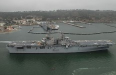 USS Boxer passes Naval Base Point Loma as it enters San Diego Bay. Photo by U.S. Navy.