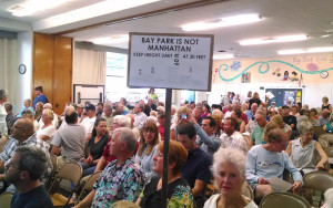 Hundreds of Bay Park residents oppose an increase in height limits along the proposed trolley line. Photo by Chris Jennewein