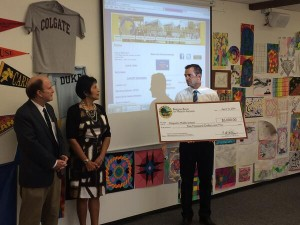 State Sen. Mark Wyland present a $5,000 Barona grant to Diegueno Middle School. Photo credit: San Dieguito Union High School District via Twitter.