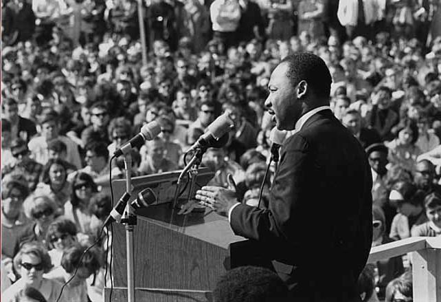 Martin Luther King speaks to an anti-Vietnam war rally at the University of Minnesota, St. Paul on April 27, 1967. Photo from Wikimedia Commons.