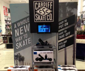 A Cardiff Skate Co. display in a Brookstone story. Photo courtesy Cardiff Skate Co.