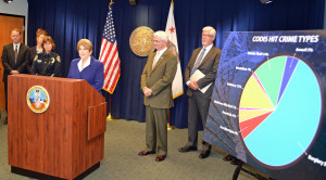 District Attorney Bonnie Dumanis, along with Sheriff BillGore and Police Chief Shelley Zimmerman, announced the cooperative DNA database project. Photo courtesy of San Diego County District Attorney's Office.