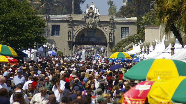 Crowds at Balboa Park for EarthFair in 2011. Photo via Wikimedia Commons