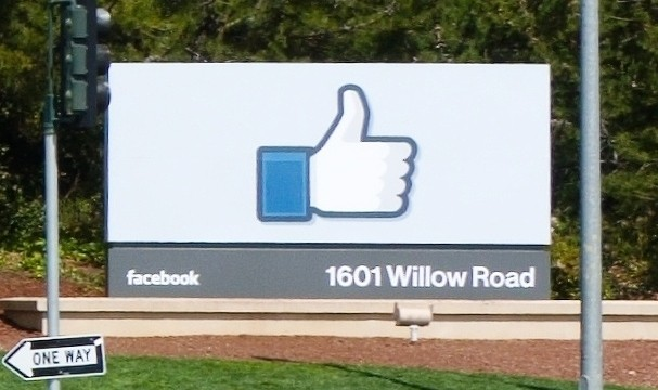 Sign at Facebook's headquarters in Silicon Valley. Photo via Wikimedia commons