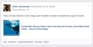 An example of comments on Times of San Diego automatically coped to a Facebook page.