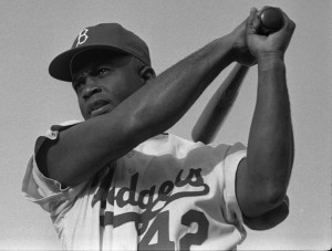 Jackie Robinson, No. 42, of the Dodgers. Photo courtesy Wikimedia Commons
