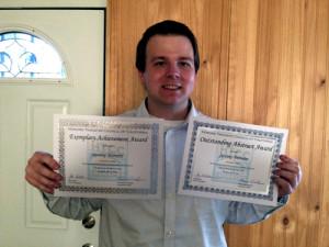 Jeremy Nemetz of Grossmont College with latest awards. Photo courtesy of Nemetz via sdjewishworld.com