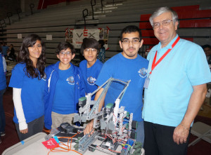 Jerry Rindone with robotics team at Sweetwater High Shool.