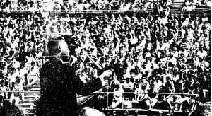 This scanned San Diego Union photo is the only image SDSU has of Martin Luther King Jr.'s historic SDSU speech. Photo from SDSU Newscenter.