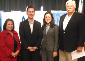 City Council District 6 candidates, from left, Mitz Lee, Chris Cate and Carol Kim with Ted Brengel, president of the Mira Mesa Town Council.