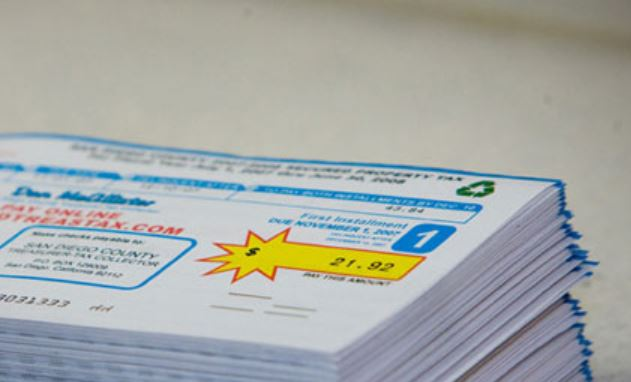 Property tax bills. Photo courtesy San Diego County tax collector's office