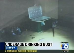 Photo from a 2013 bust in Poway, where an adult let minors drink in his home. Photo credit: sdsheriff/YouTube